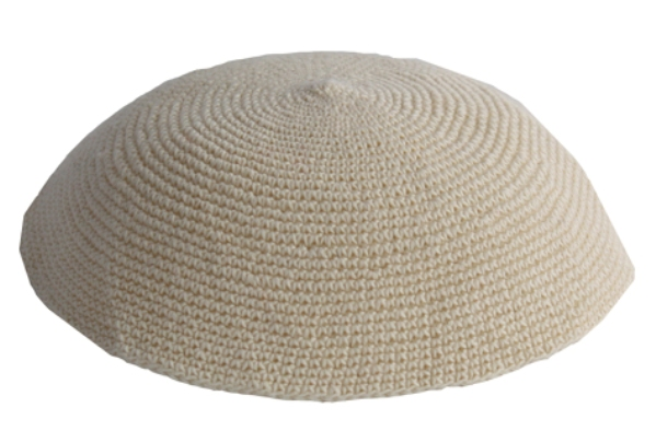 Beige Cotton Crochet Knit Kippah