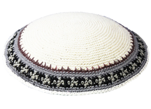 Knit-06 White Knit Kippah