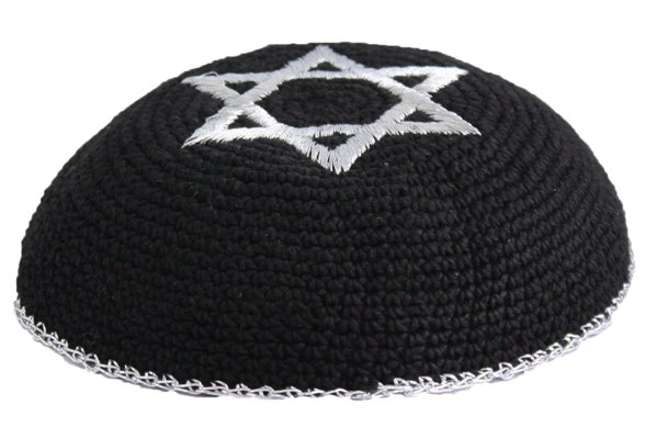 Silver Star Of David Black Crochet Knit Kippah