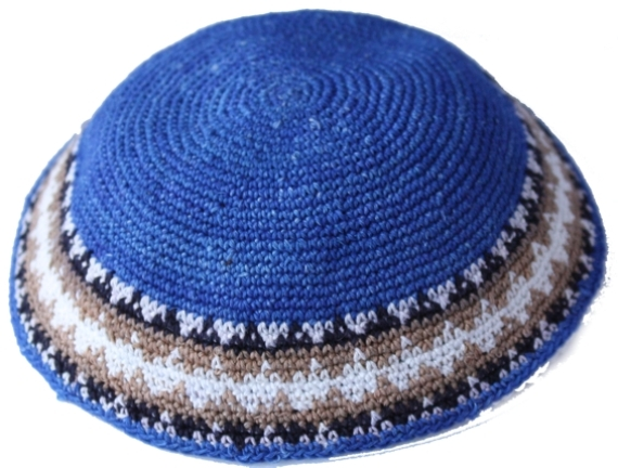 Royal Blue Crochet Cotton  Knit Kippah