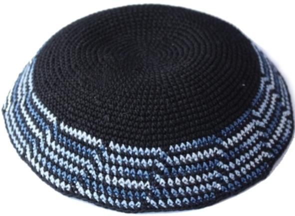 Black With Cascading Blue Crochet Knit Kippah