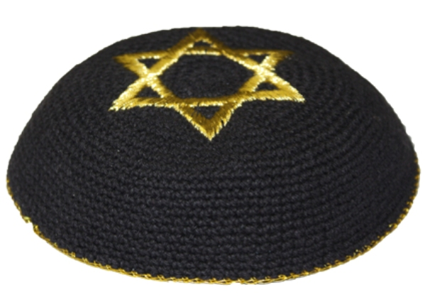 Gold Star Of David Black Crochet  Knit Kippah
