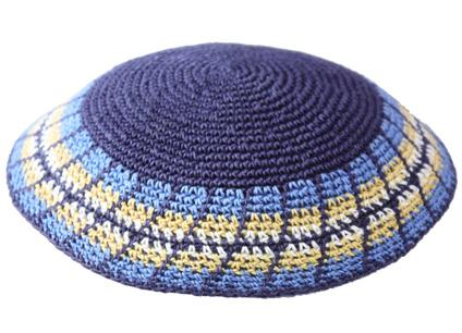 Blue With Colored Rim Crochet Knit Kippah