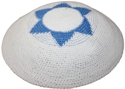 Blue & White Star Of David Crochet Knit Kippah
