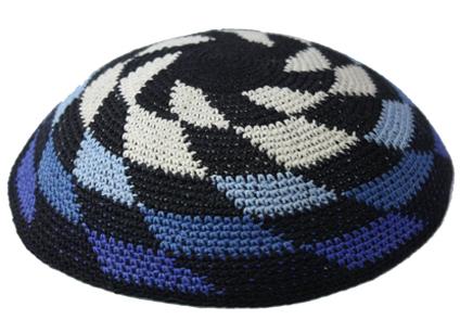 Shades Of Blue Whirlpool Cotton Crochet  Knit Kippah