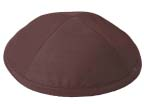 Brown Raw silk Kippah