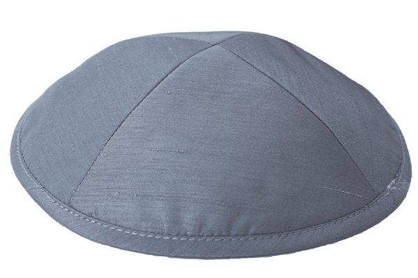 Dark Grey Raw silk Kippah