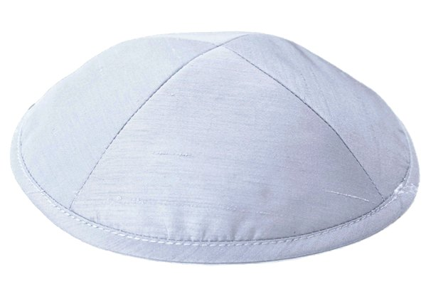 Light Grey Raw silk Kippah