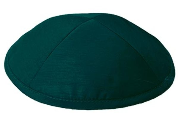 Teal Green Raw silk Kippah