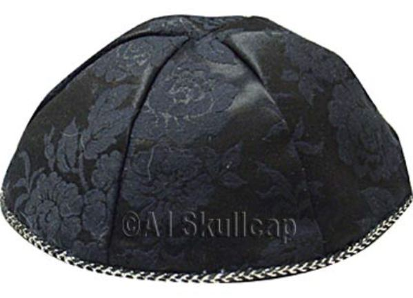 Black Brocade Kippah