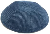 Navy Blue Burlap Kippah