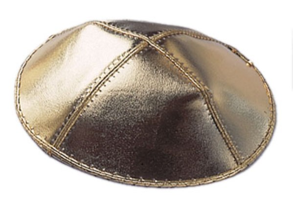 Gold Leather Leather Kippah