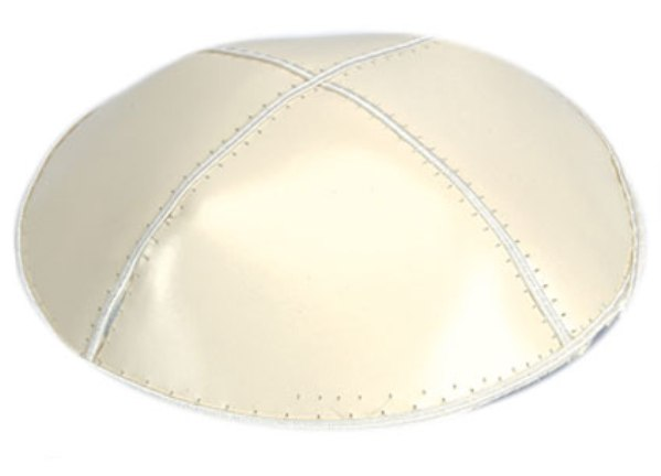 Ivory Leather Leather Kippah