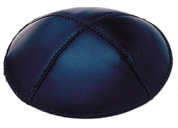 Navy Blue Leather Leather Kippah