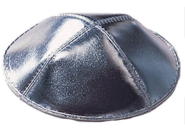 Silver Leather Leather Kippah