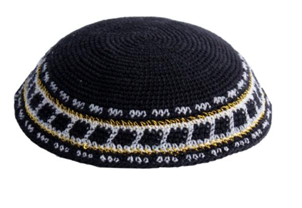 Black Cotton Crochet Knit Kippah