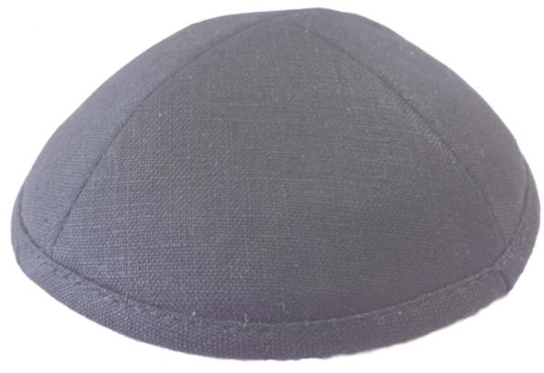 Dark Grey Linen Kippah