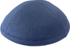 Navy Blue Linen Kippah