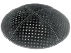 Black With Silver Embossed Stars Design suede Kippah