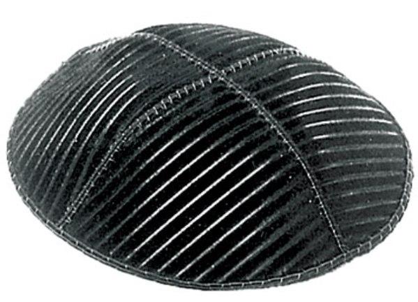 Black With Silver Embossed Lines Design suede Kippah