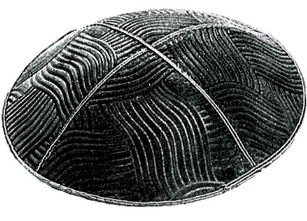 Black Brushstroke Design suede Kippah
