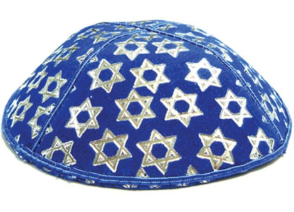 Silver Star Of David Blue  Design suede Kippah