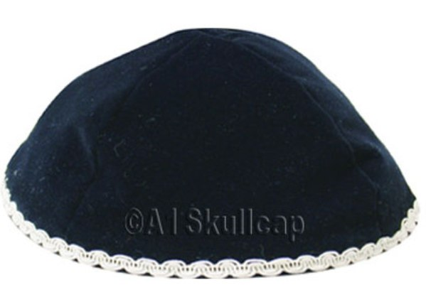 Navy Blue Velour Kippah