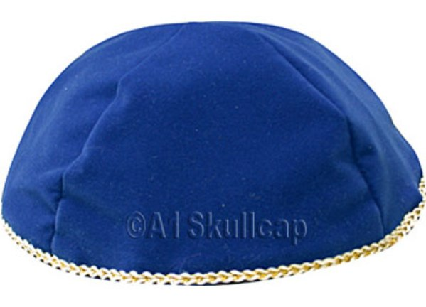 Royal Blue Velour Kippah
