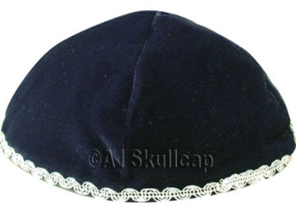 Navy Blue Velvet Kippah